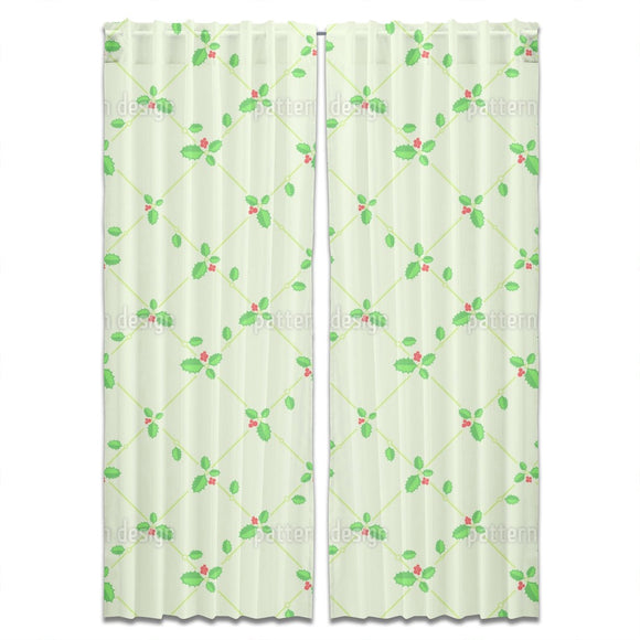 Christmas Holly Bouquet And Decoration Curtains