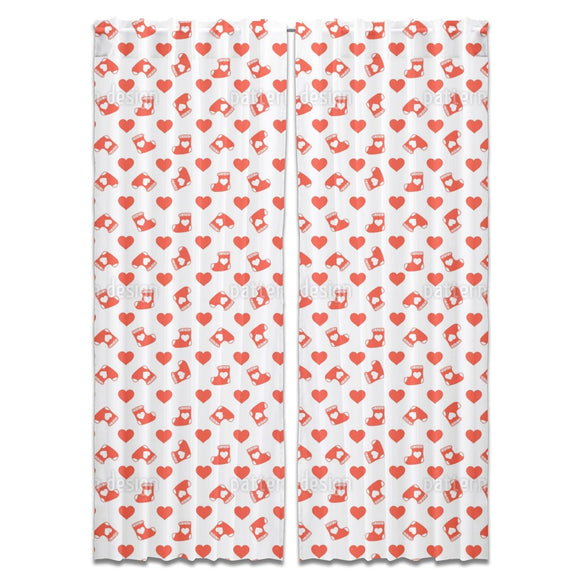Christmas Heart Socks Curtains
