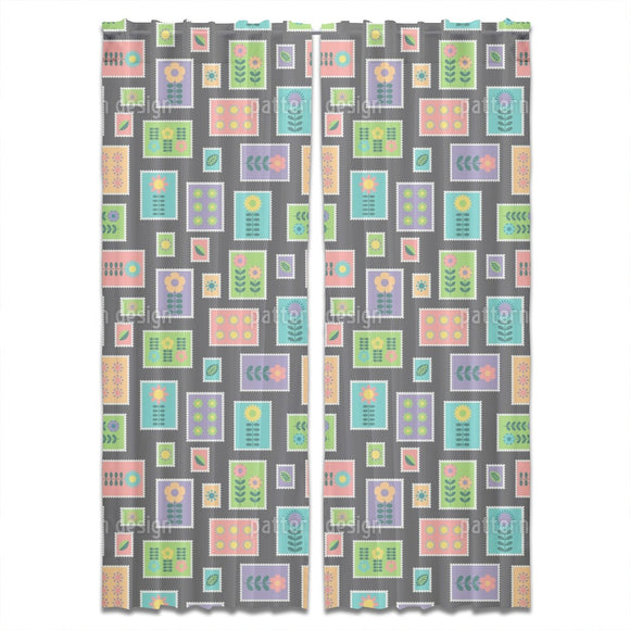 Hygge Postal Stamps Curtains