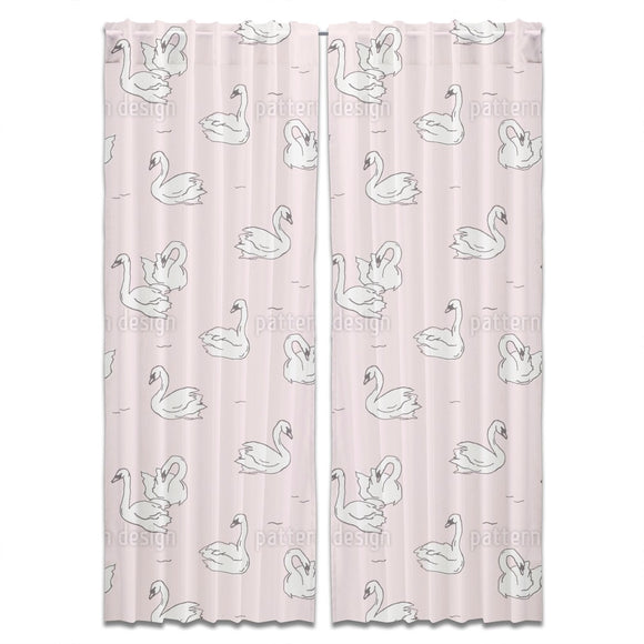 Hand Drawn Swans Curtains