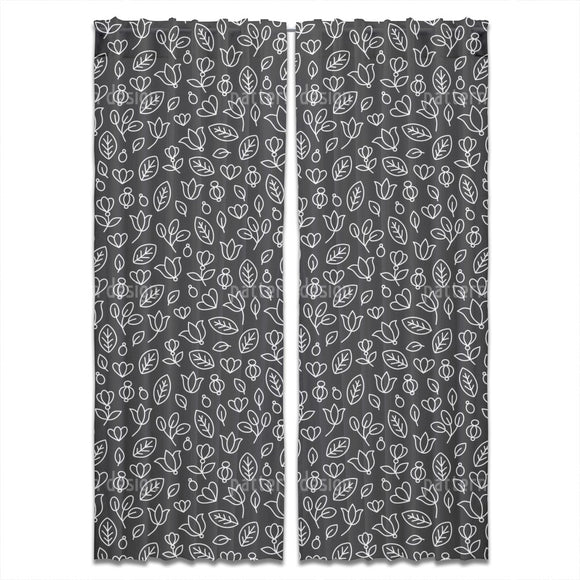 Floral Outlines Curtains