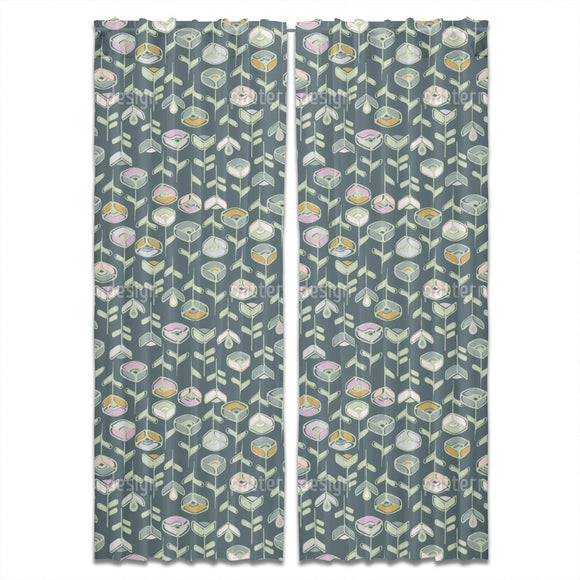Stylized Garden Flowers Curtains