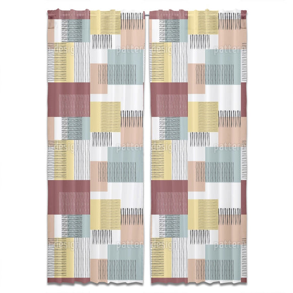 Brush Stripes And Squares Curtains