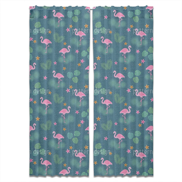Tropical Flamingo And Monstera Curtains