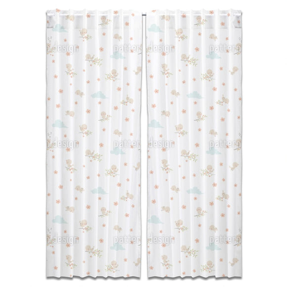 Cute Baby Birds Curtains