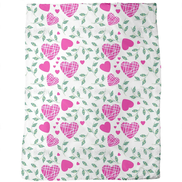 Hearts And Leaves Blankets