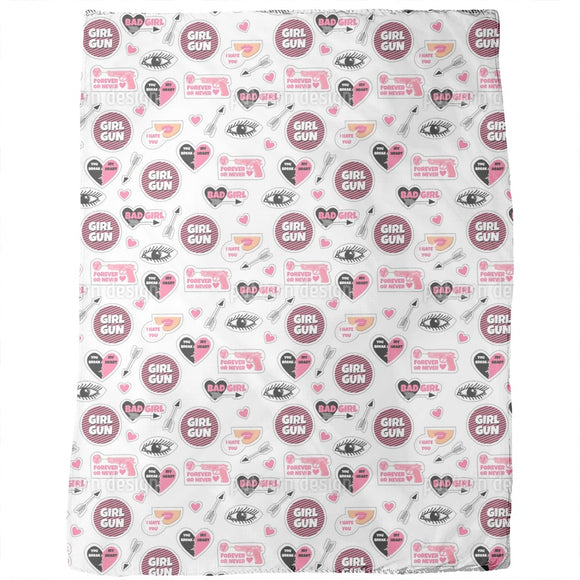 Girly Fashion Patches Blankets