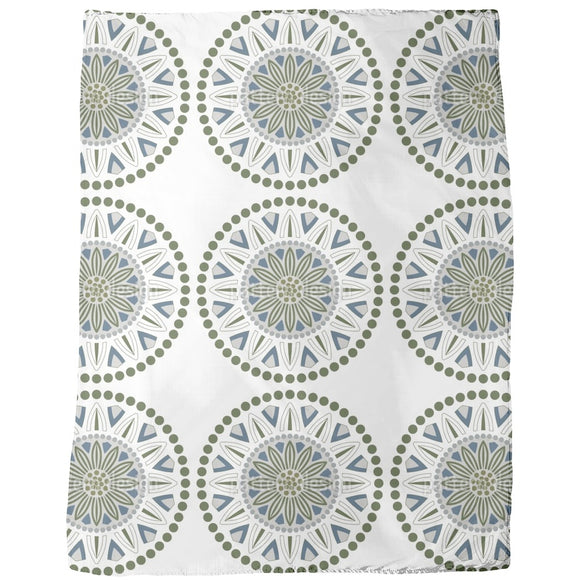 Flowers Dots And Circles Blankets