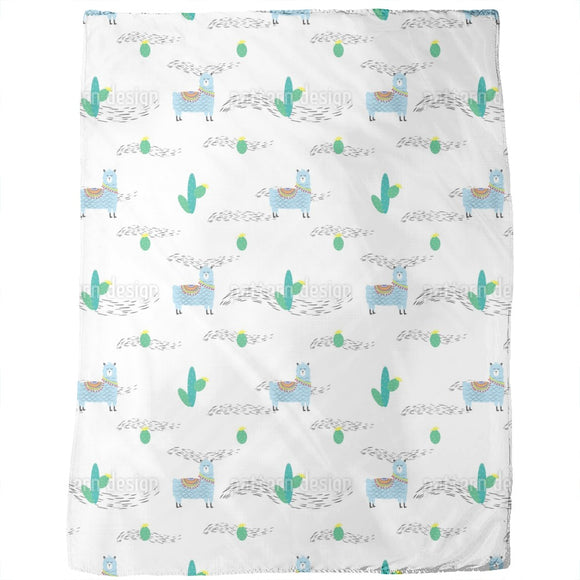 Cute Lama And Cactus Blankets