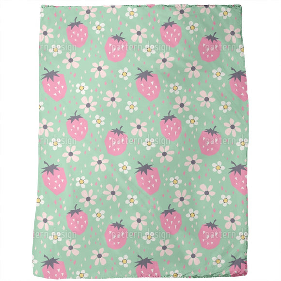 Strawberries And Flowers Blankets