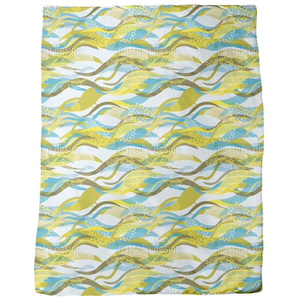 Design With Waves And Flowers Blankets