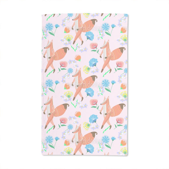 Folk Fox And Flowers Hand Towel