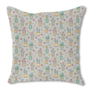 Potted Plants And Flowers Outdoor Pillows