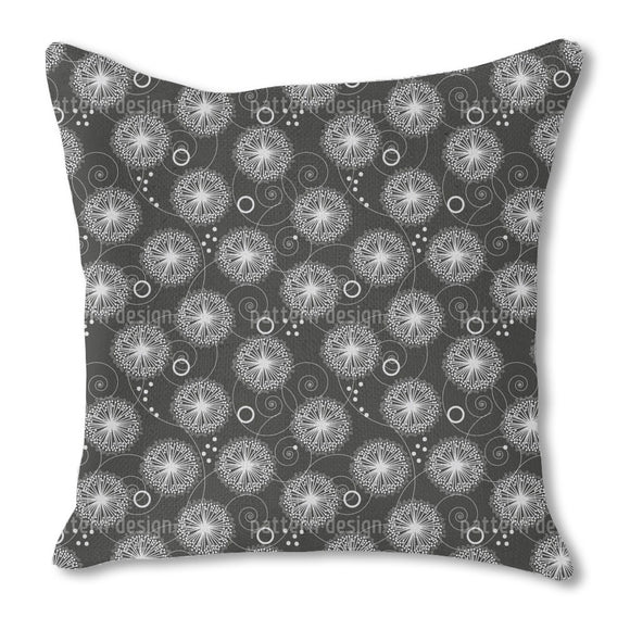 Curlicue Dandelion Flower Outdoor Pillows