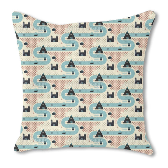 Map Of Ancient Kingdom Outdoor Pillows