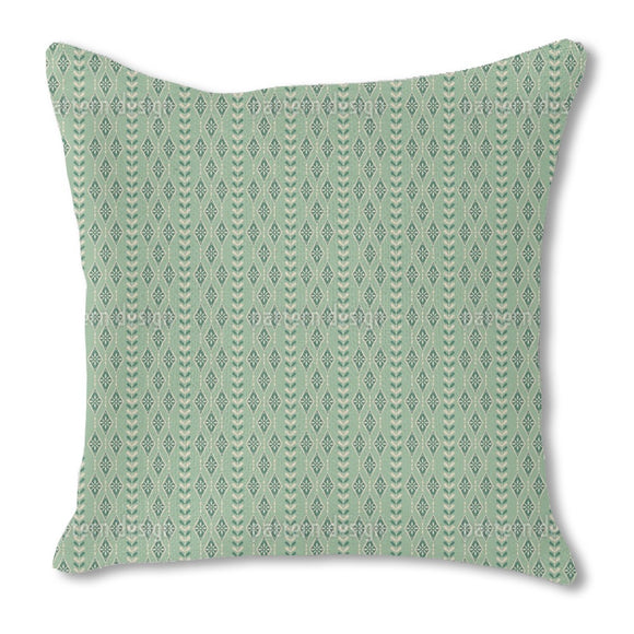 Vintage Snowflakes Stripes Outdoor Pillows