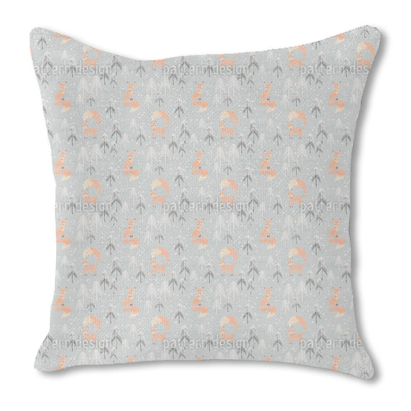 Foxes in Winter Forest Outdoor Pillows