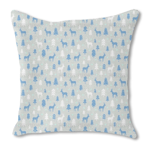 Snowfall In The Forest Outdoor Pillows