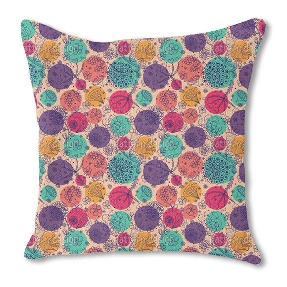 Flowers And Polka Dots Outdoor Pillows