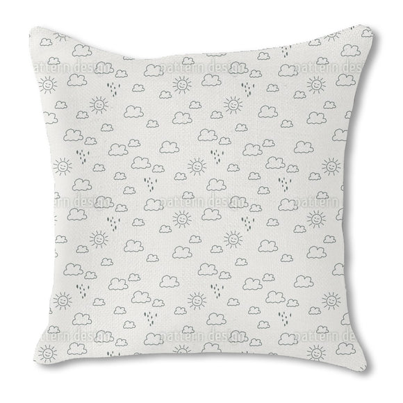 Outlined Sun And Rain Outdoor Pillows