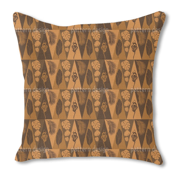 Triangles and tropical leafs Outdoor Pillows