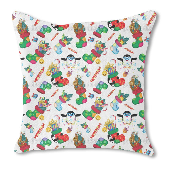 Gifts and penguins Outdoor Pillows