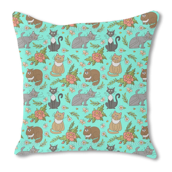 Cats in spring Outdoor Pillows