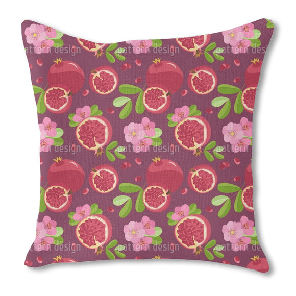 Pomegranate And Blossom Outdoor Pillows