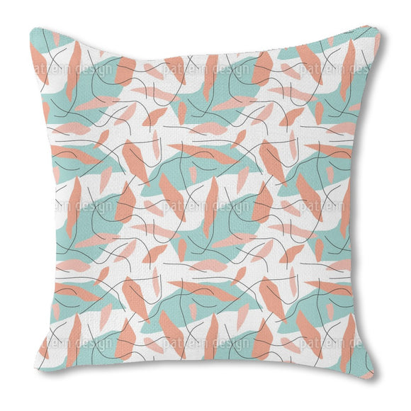 Abstract Spots And Curved Lines Outdoor Pillows