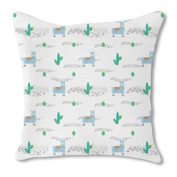 Cute Lama And Cactus Outdoor Pillows