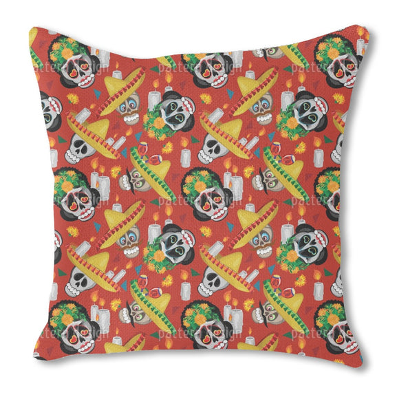 Skull And Sombrero Outdoor Pillows