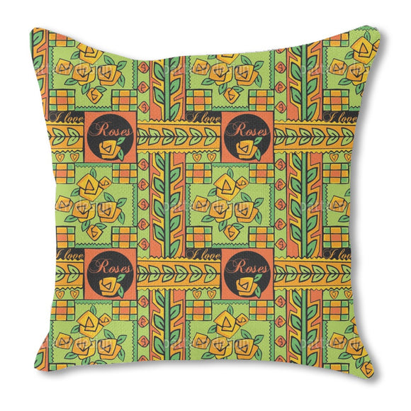 Patchwork With Roses Outdoor Pillows