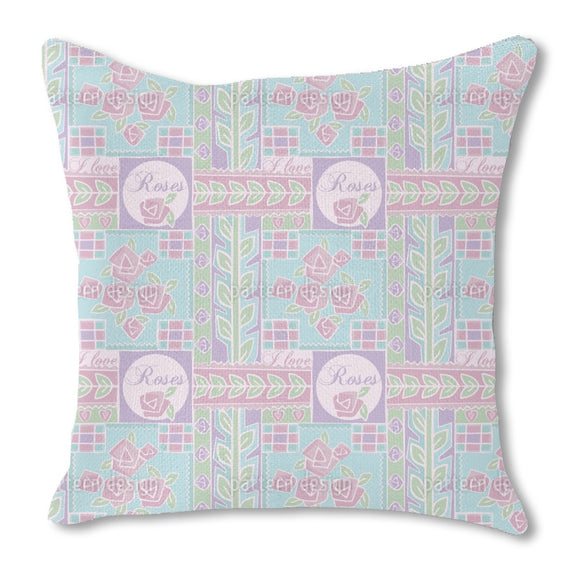 Patchwork Rose Outdoor Pillows