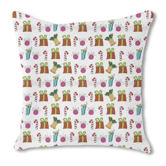 Christmas Presents And Candy Sticks Outdoor Pillows