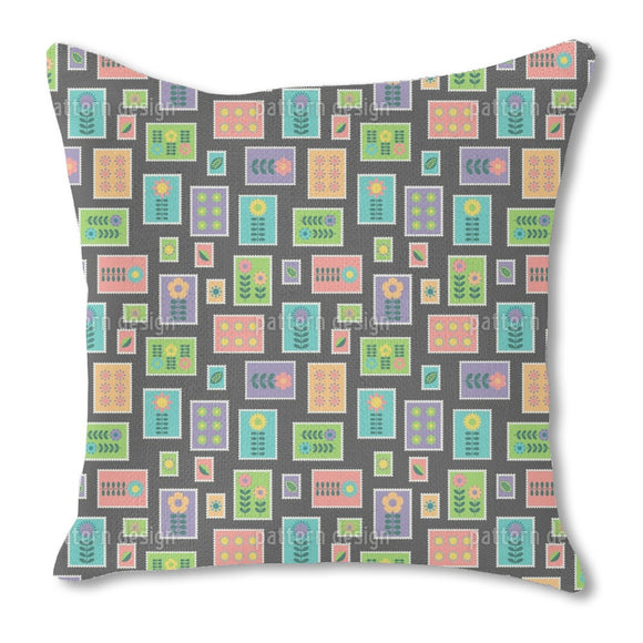 Hygge Postal Stamps Outdoor Pillows