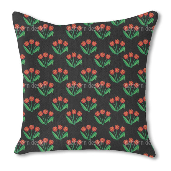Tulip Flowers Outdoor Pillows