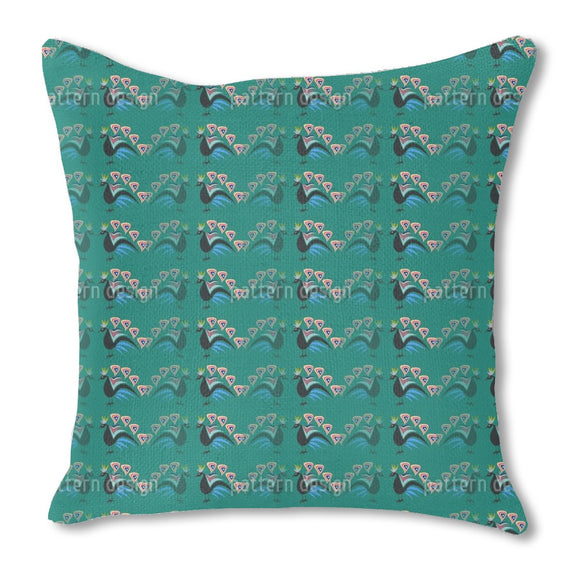 Peacocks Showing Off Outdoor Pillows