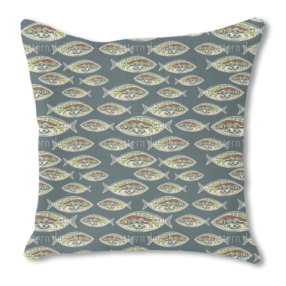 Polynesian Fish Outdoor Pillows