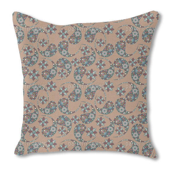 Nougat Paisley Outdoor Pillows