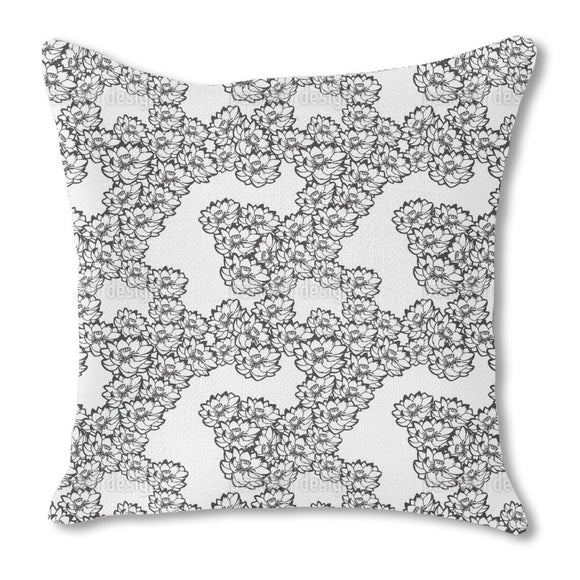 Water Lilies White Outdoor Pillows