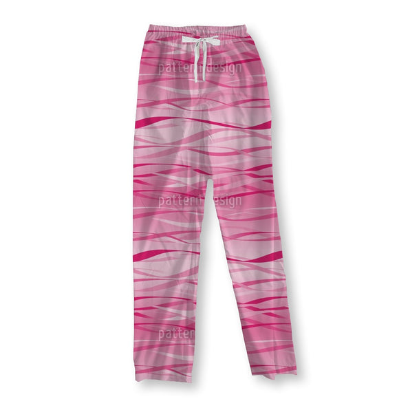 Waves Design Pink Pajama Pants