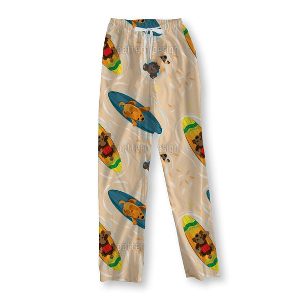 Surf The Summer Dogs On A Peach Pajama Pants