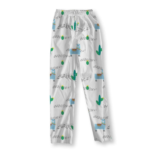 Cute Lama And Cactus Pajama Pants