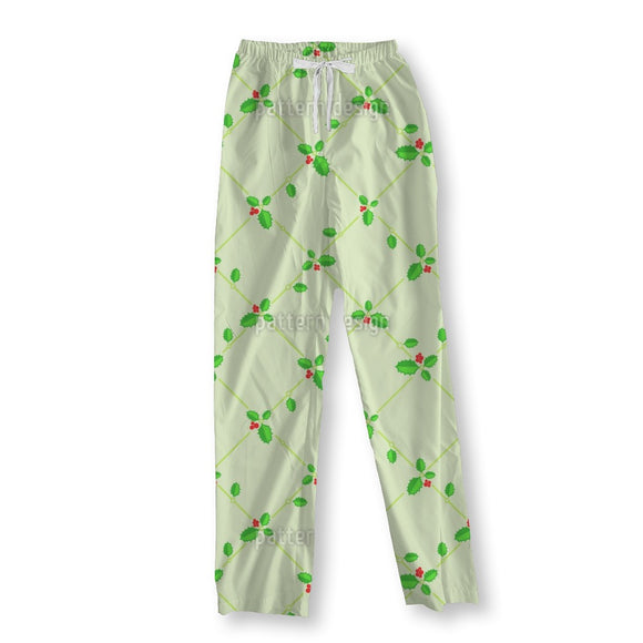 Christmas Holly Bouquet And Decoration Pajama Pants