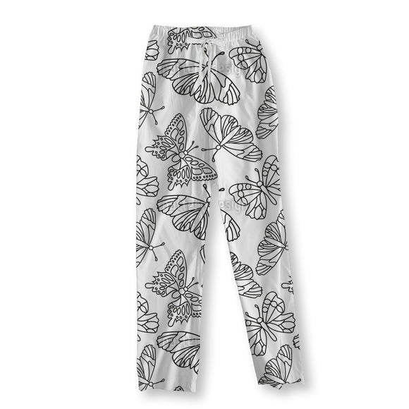Outlined Butterflies Pajama Pants