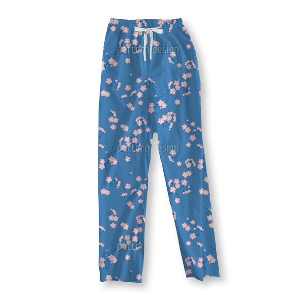 Cherry Blossoms Blue Pajama Pants