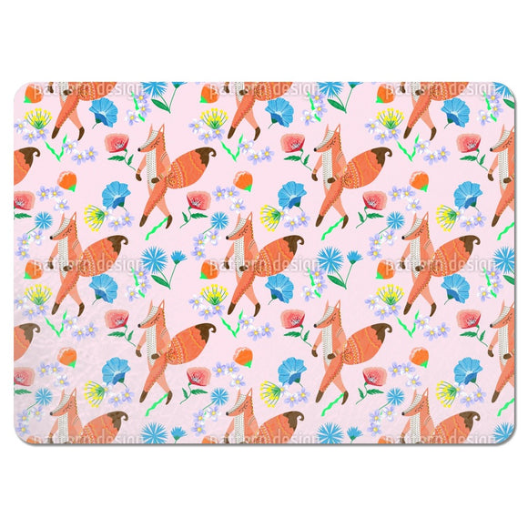 Folk Fox And Flowers Placemats