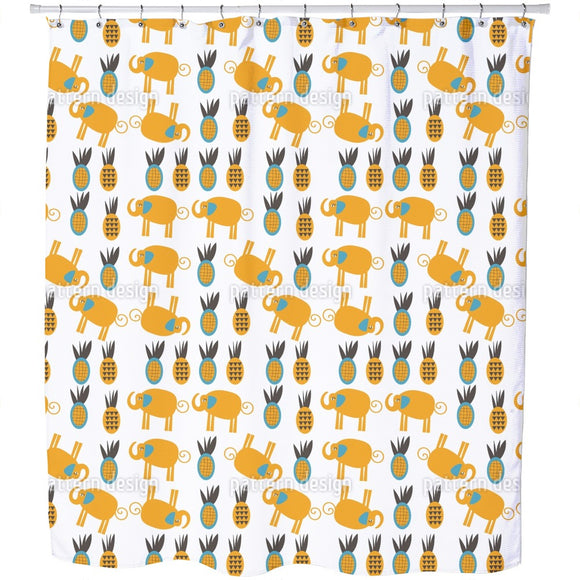 Elephants Love Pineapples Shower Curtain