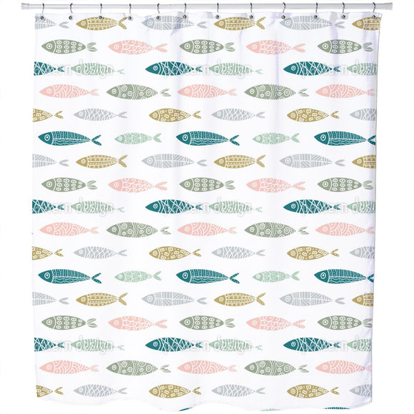 Aquatic Shapes Shower Curtain