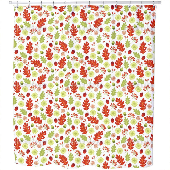 Autumnal Flowers With Leaves Shower Curtain